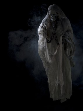 Image of a skeleton surrounded with smoke