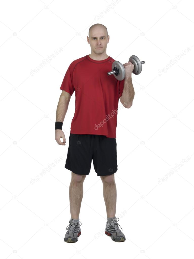 athletic male using dumbbells stock photo kozzi2 17208829
