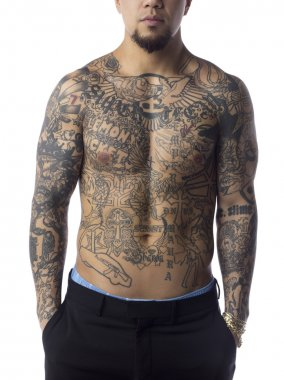 man body filled up with tattoo