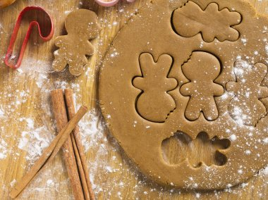close up shot cookie cutter on wooden worktop