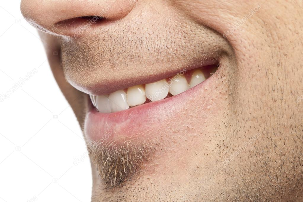 cropped man with beautiful smile