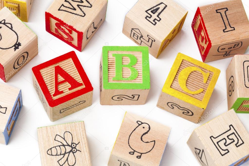 building blocks of abc alphabets arranged beside each other