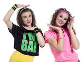 Photo two young women gesturing
