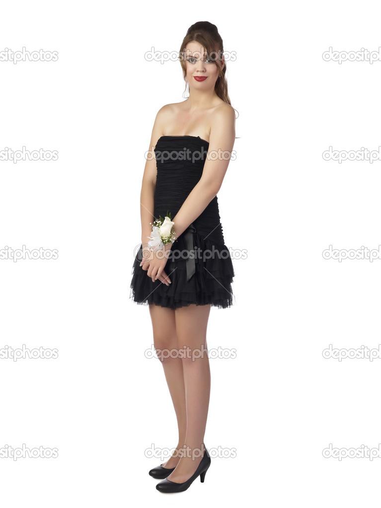 zwarte jurk voor tieners tiener Ana Sex