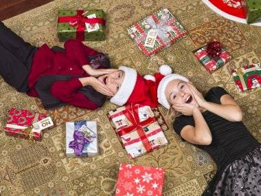 shocked kids lying on floor