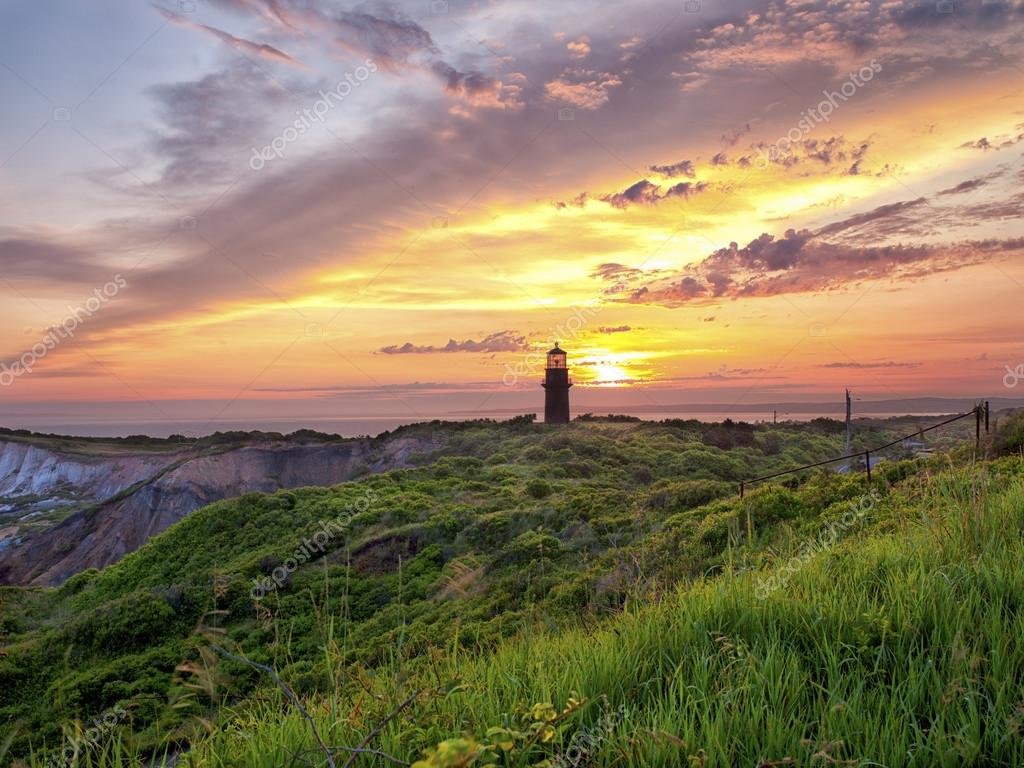 lighthouse at sunset at marthas vinyard