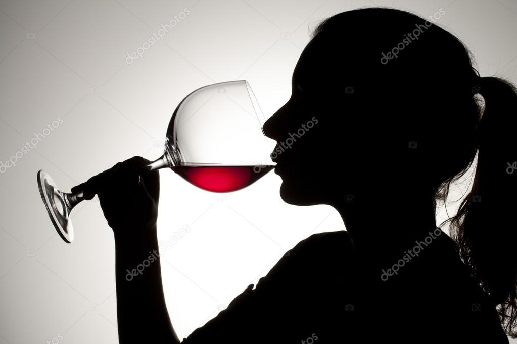 306 female drinking red wine