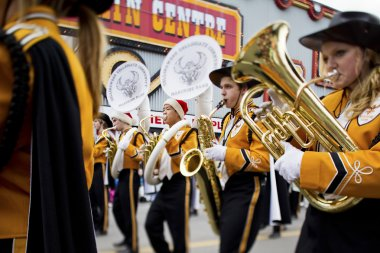 view of marching band playing brass instrument