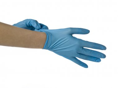 a surgeon wearing medical gloves