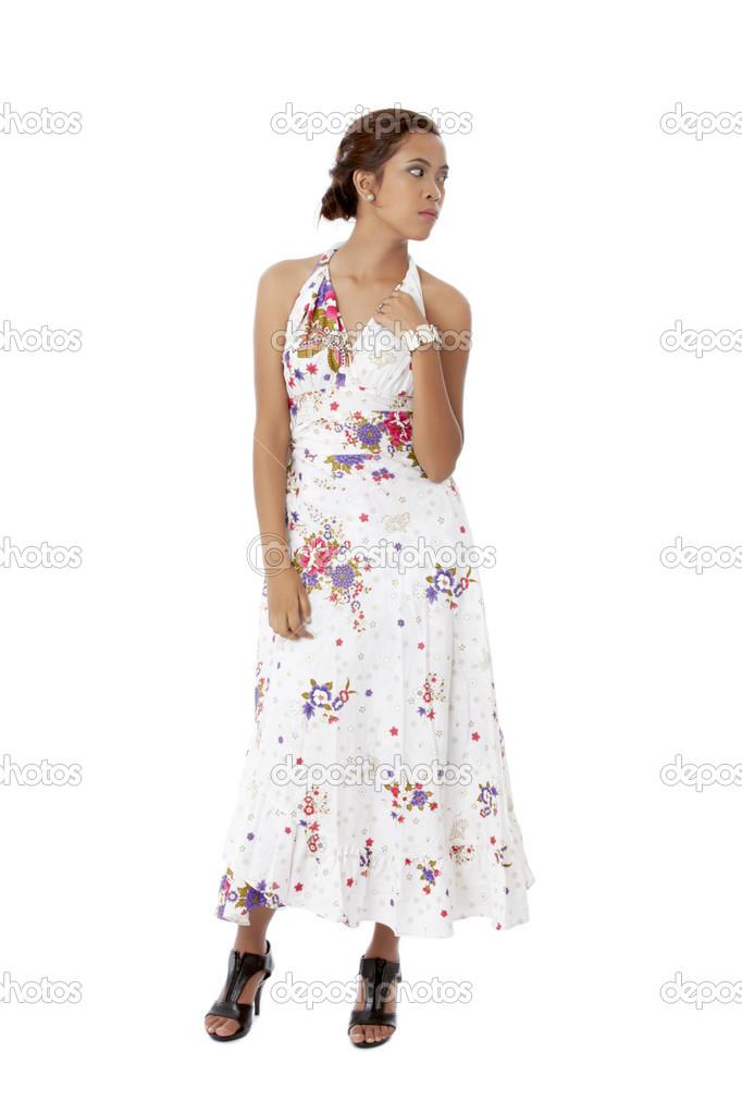 Con Vestido Floral Una Stock Fotos De Mujer — Blanco Joven Un n8k0wOP