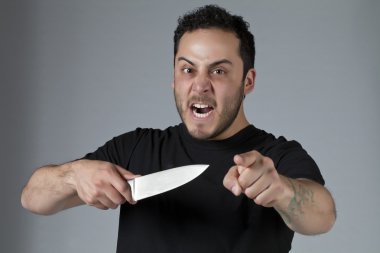 angry man with a knife