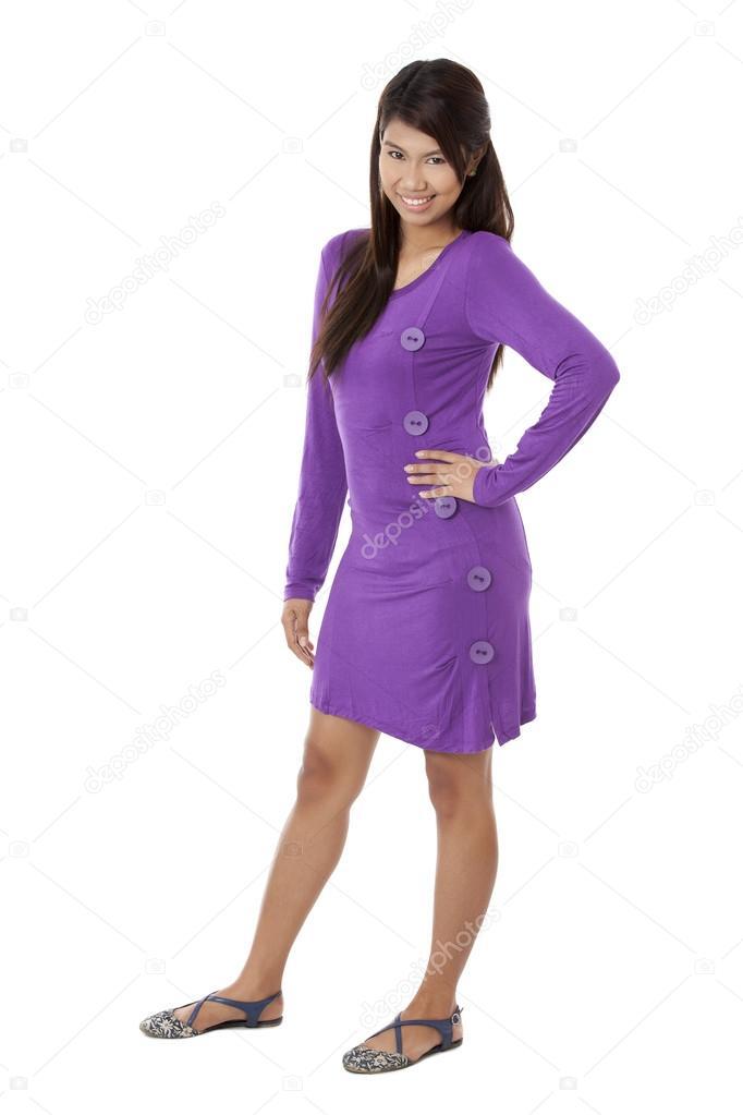 Eine lächelnde Dame lila Kleid — Stockfoto © kozzi2 #23818013