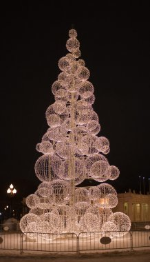 Modern New Year tree at Gorky park. Moscow at night