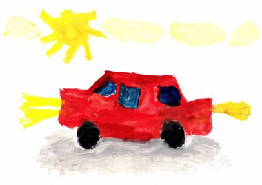 Child's Drawing Car