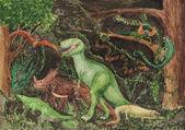 Fotografie Vielzahl von Dinosaurier Kinder Zeichnung