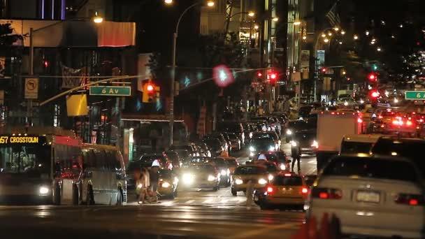 New York City street traffic, night shot