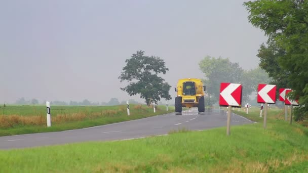 Agricultural vehicle passing on small road