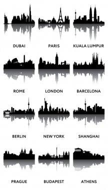 Silhouettes of city panoramas
