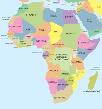 Coloured political map of Africa