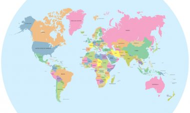 Coloured political map of the world vector