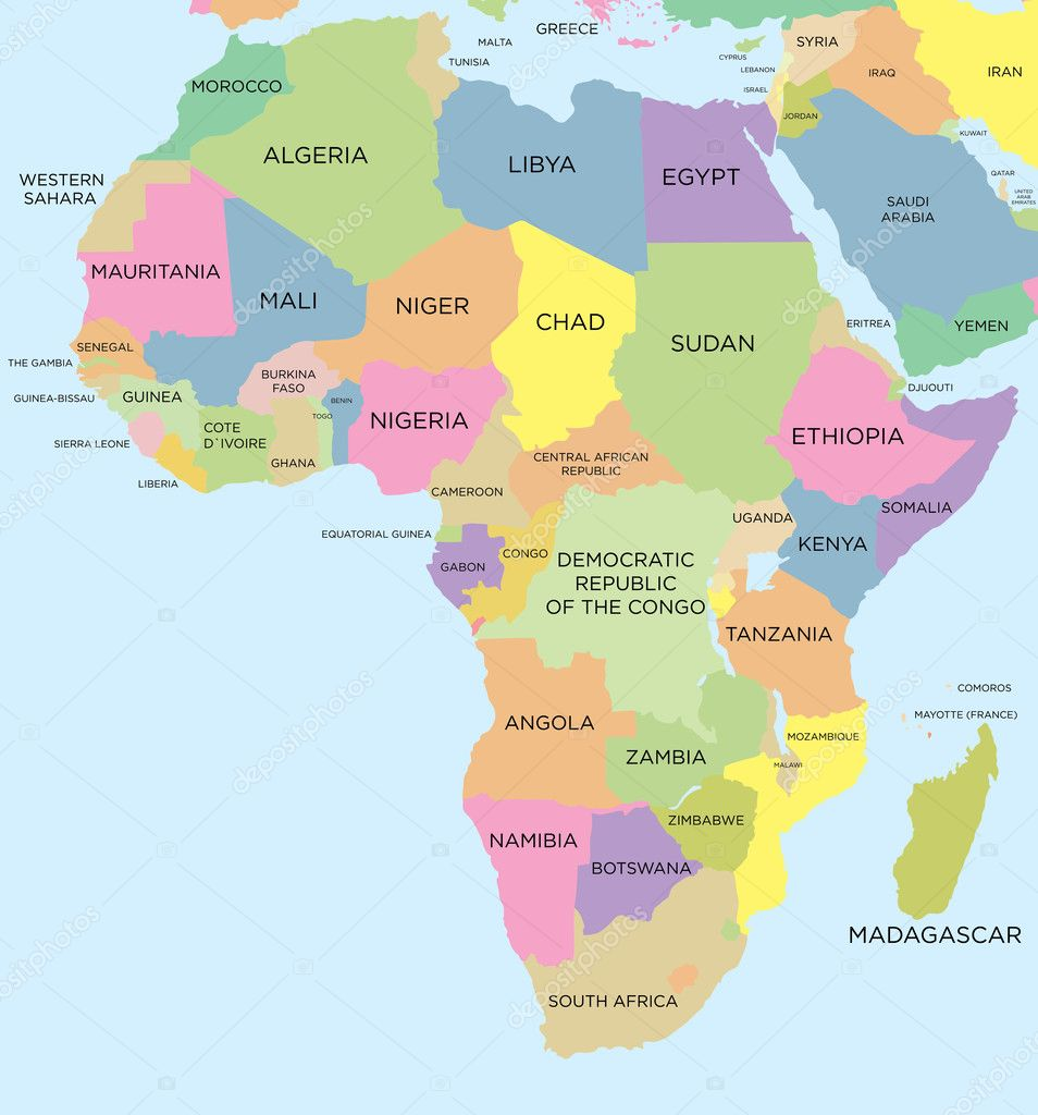 Africa Blank Political Map Coloured Political Map Of Africa