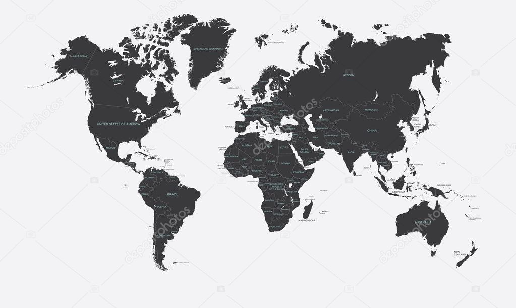 Black and white political map of the world vector stock vector black and white political map of the world vector stock vector gumiabroncs Image collections