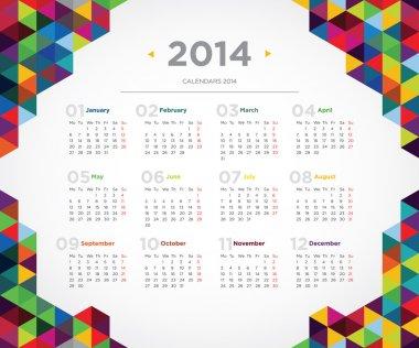 Vector template design calendar 2014