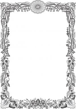 Diploma con filigranas en blanco y negro