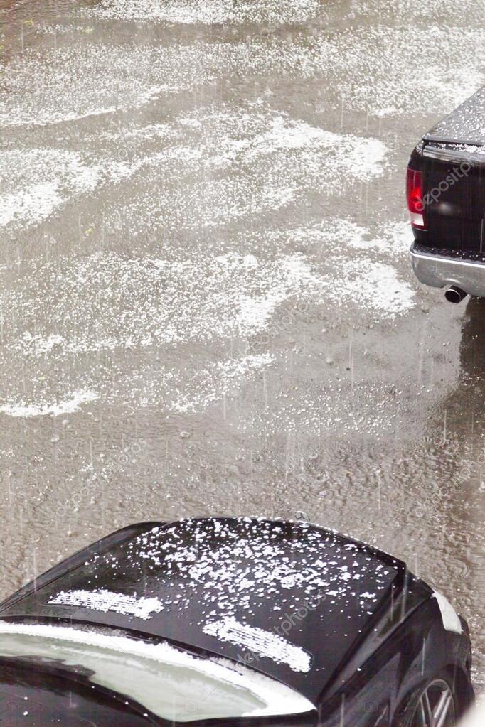 Hail with the rain