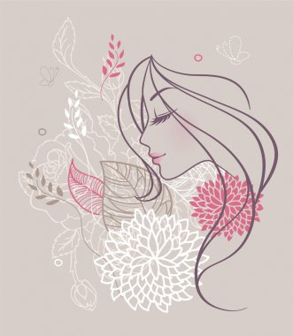 Vector illustration of Beauty floral woman stock vector