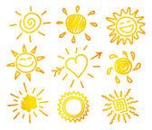 vektorové ilustrace z rukou nakreslit slunce