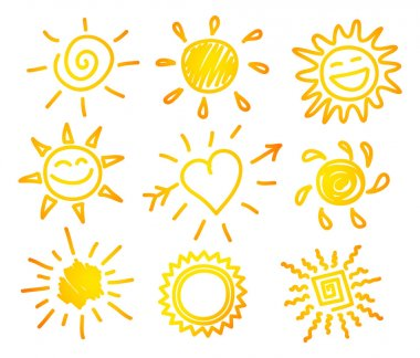 Vector illustration of Hand-draw sun set