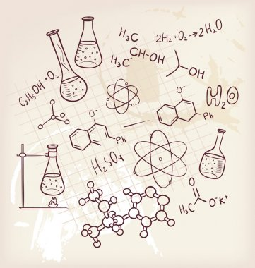 Vector illustration of Hand draw chemistry on background stock vector