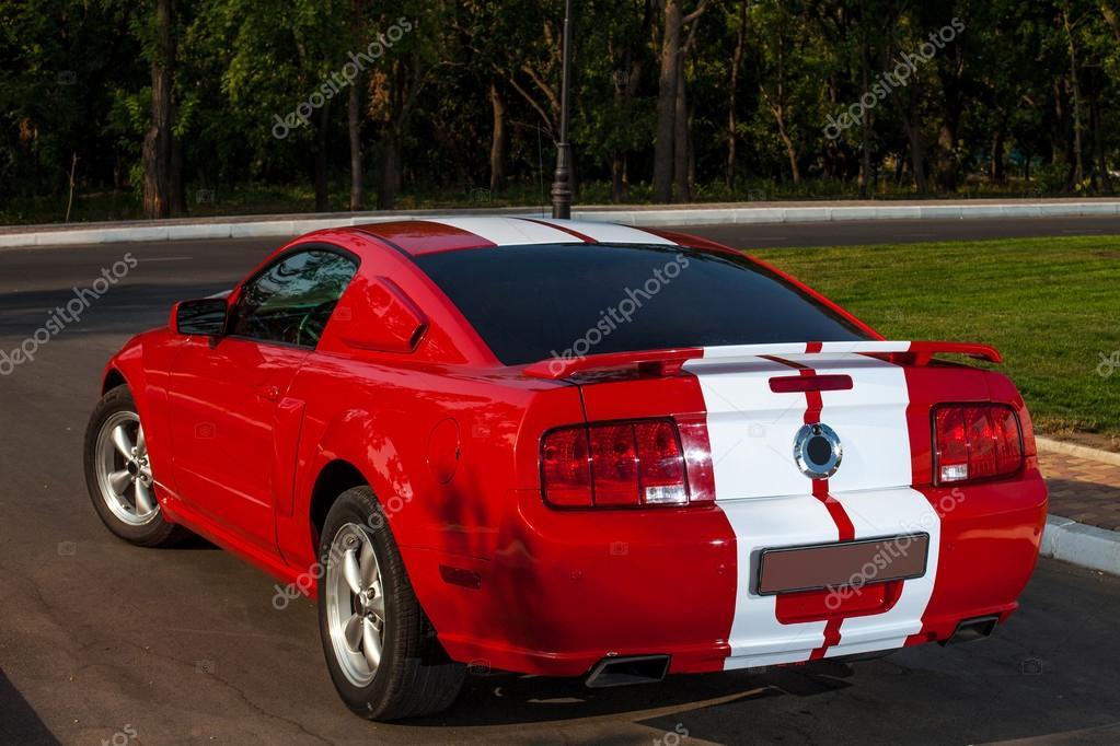 Red sport car Mustang