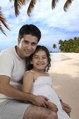 Fotografie Vater und Tochter am Strand