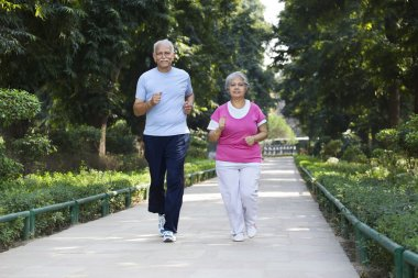 Old couple doing exercises