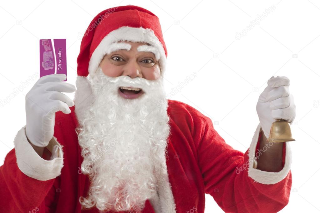 Santa Claus showing gift voucher card