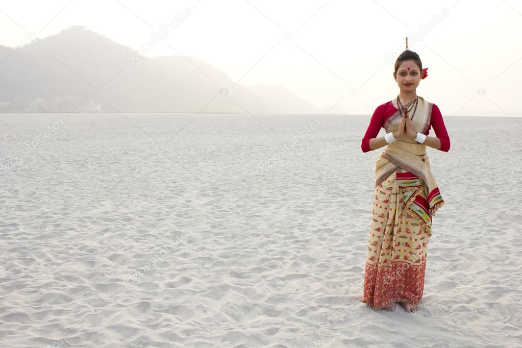 Bihu dancer greeting