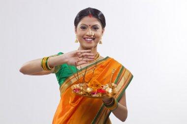 Maharashtrian woman praying