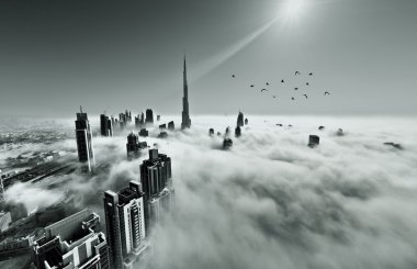 Burj Khalifa, Dubai covered in fog