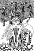 Fotografie náčrt rukou dryáda v lese s ptáky