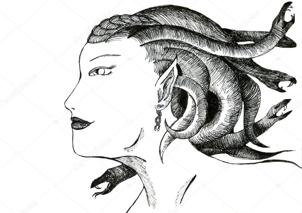 the head of medusa stock photo anzhelikaa 19334517. Black Bedroom Furniture Sets. Home Design Ideas