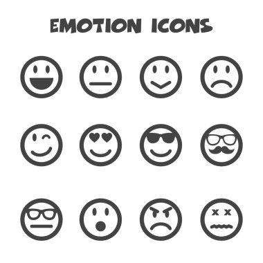Emotion icons, mono symbols clip art vector