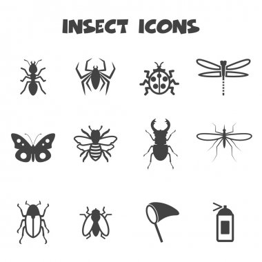Insect icons, mono color symbols stock vector