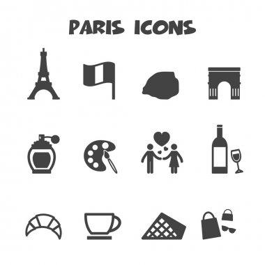 Paris icons, mono vector symbols clip art vector