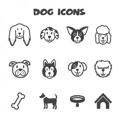 Dog icons, mono vector symbols clip art vector