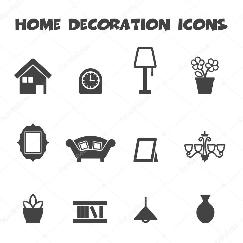 Charming Home Decoration Icons U2014 Stock Vector