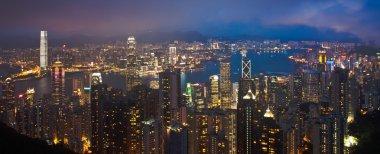 Hong Kong cityscape at night panorama