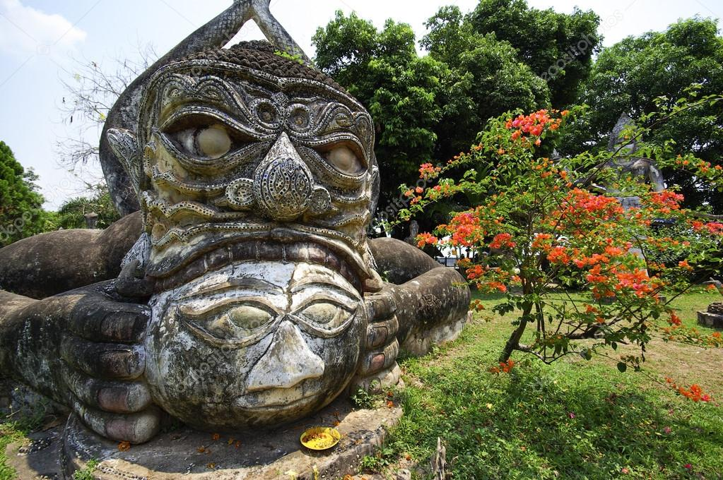 Buddha statues at the beautiful and bizarre buddha park in Vientiane, Laos