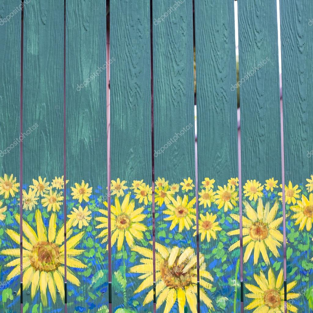 Sunflowers Painting On Fence Wood Stock Photo 169 2nix
